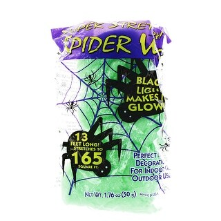 Super Stretch Spider Web Decoration, Green, Glows in Blacklight