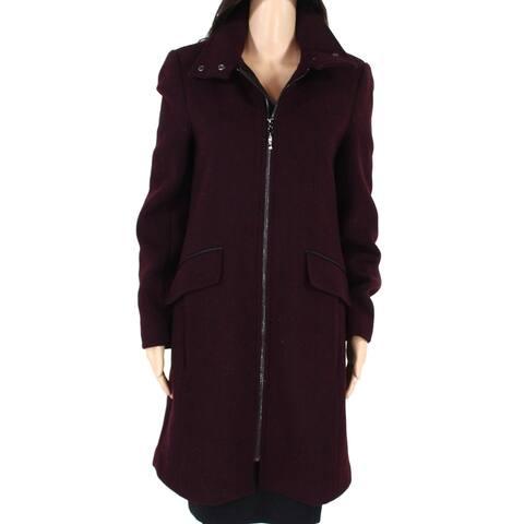 Ellen Tracy Womens Top Coat Purple Size 8 Full-Zip Snap Stand-Collar