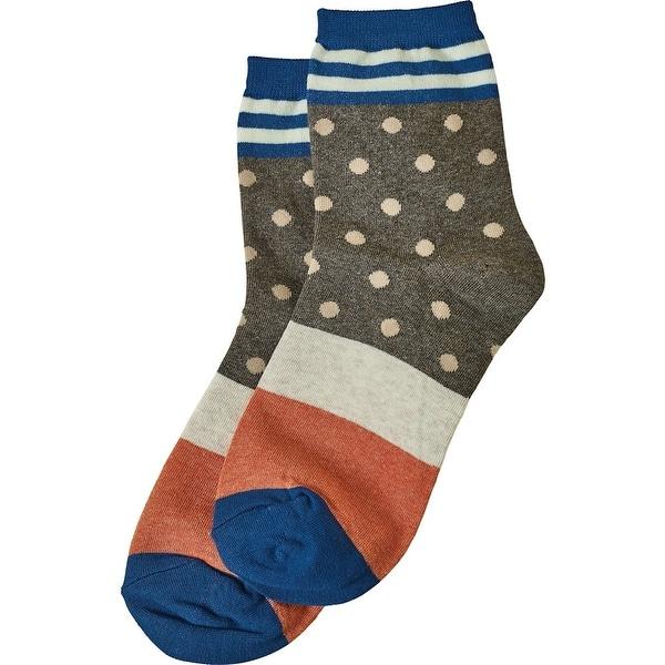 Women's Socks - Dots 'N Stripes Socks - Blue - One size