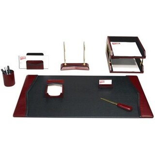 Dacasso D7020 Burgundy Leather 10-Piece Desk Set