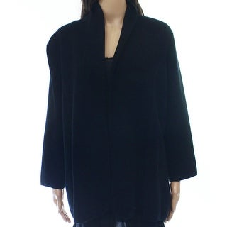 Alfani NEW Solid Black Belted Knit Open-Front Women's Size XL Jacket