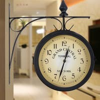 Costway Vintage Antique Double Side Wall Mount Station Clock Garden Hallway Home - as pic