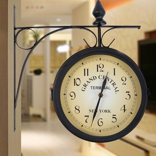 Costway Vintage Antique Double Side Wall Mount Station Clock Garden Hallway Home