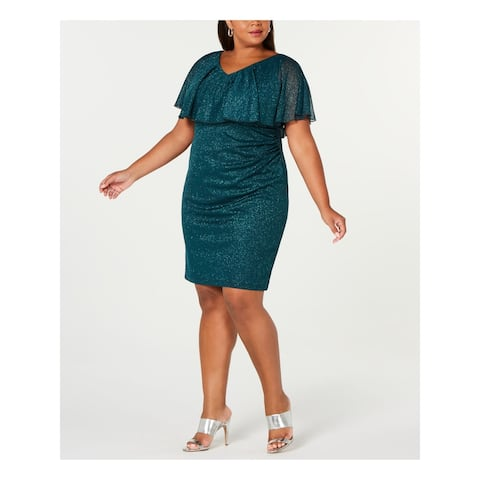 CONNECTED APPAREL Green Short Sleeve Above The Knee Dress 14W