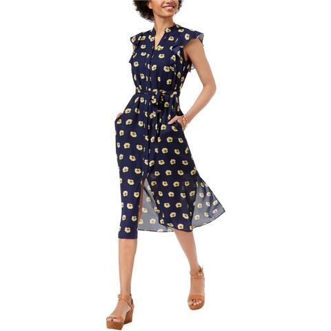maison Jules Womens Flutter Sleeve A-line Dress, Blue, XX-Large