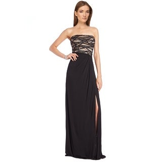 David Meister Bead Embellished Strapless Jersey Evening Gown Dress