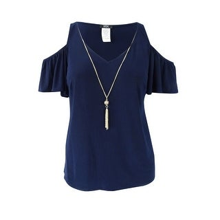 Msk Women's Plus Size Cold Shoulder Top - Navy
