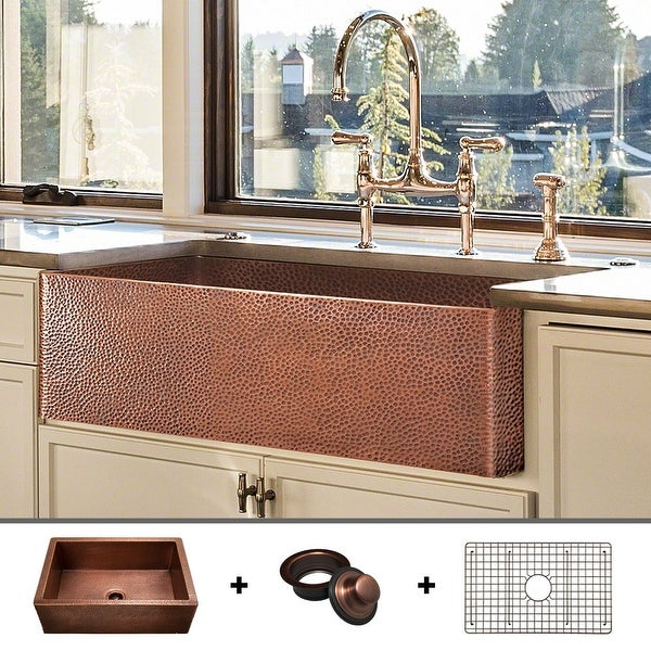 Heavy 12-GAUGE Luxury 33-Inch Copper Farmhouse Sink (52 LBS of Pure Copper), Includes Grid and Flange, by Fossil Blu - 33 x 20. Opens flyout.