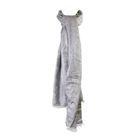 Style & Co. Silver Metallic Paisley Jacquard Wrap OS