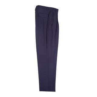 Navy Wide Leg Dress Pants Pure Wool by Tiglio Luxe