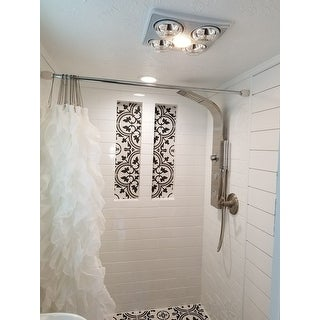 Adjustable Chrome Shower Curtain Tension Rod with Decorative White Finials (41-76)
