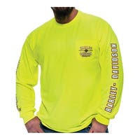 Harley-Davidson Men's Alliance Chest Pocket Long Sleeve T-Shirt, Safety Green