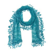 """Women's Sheer Lace Scarf With  Fringe - Teal blue - 70"""" x 11"""""""
