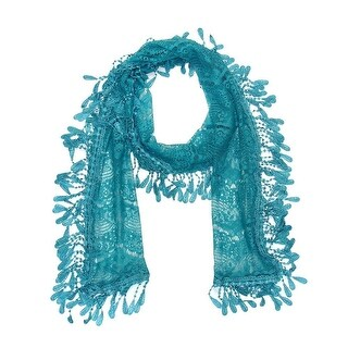 "Women's Sheer Lace Scarf With Fringe - Teal blue - 70"" x 11"""