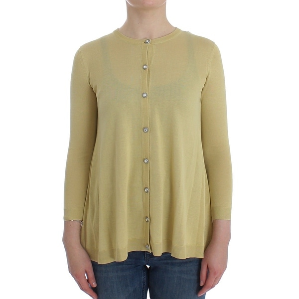 Dolce & Gabbana Dolce & Gabbana Yellow Silk Crystal Cardigan Sweater Crew Neck