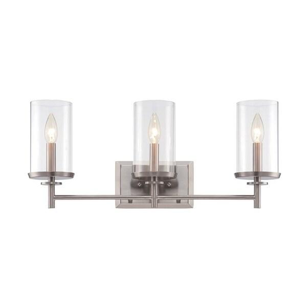 Designers Fountain 87203 Harlowe 3-Light Bathroom Vanity Light - satin platinum