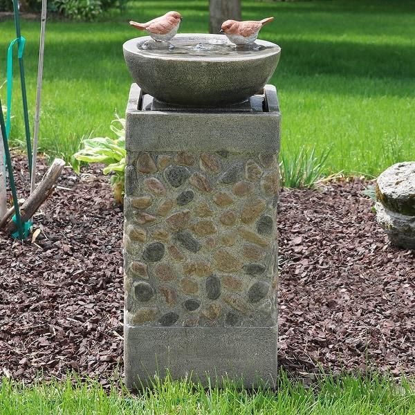 Sunnydaze Birdbath Basin on Pedestal Outdoor Garden Water Fountain - 29-Inch