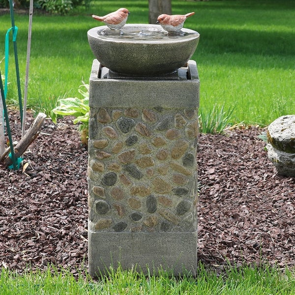 Merveilleux Sunnydaze Birdbath Basin On Pedestal Outdoor Garden Water Fountain 29 Inch  Tall