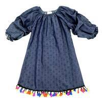 Lele For Kids Little Girls Navy Gathered Sleeve Tassel Trim Dress