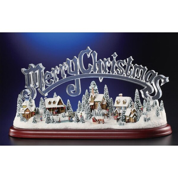 "Animated Musical Illuminated Icy Crystal Merry Christmas Village Figurine 8.5"" - CLEAR"
