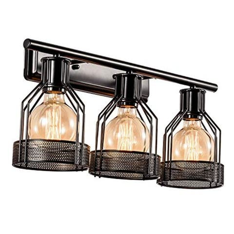 3 light vanity industrial cage wall sconce light