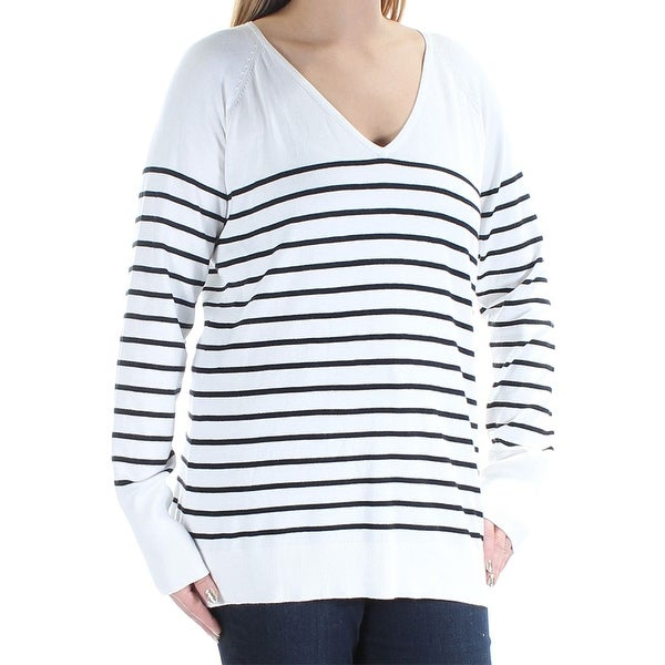 02d58d8463 Shop Calvin Klein Women s Striped Long Sleeve Sweater Ivory Black Size  Large - White - L - Free Shipping On Orders Over  45 - Overstock.com -  20966383