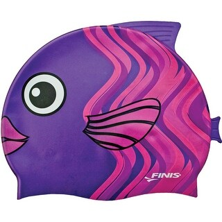 FINIS Youth Animal Head Silicone Swim Cap - Coral Fish Purple - One size