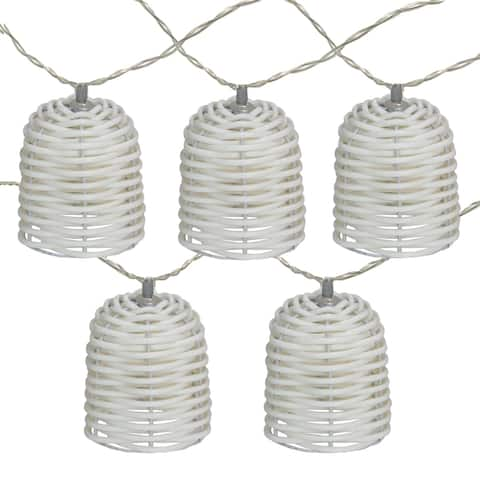 10 Battery Operated White LED Lantern Mini Christmas Lights - 5.75 ft White Wire
