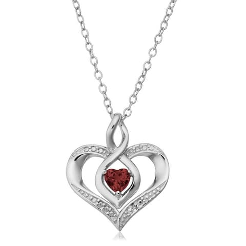 Sterling Silver Birthstone Heart Necklace with Diamond Accent