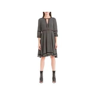 Max Studio Womens Marion Wear to Work Dress Printed Crochet Inset