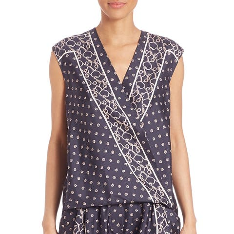 3.1 Phillip Lim Navy Silk Scarf Printed Top