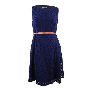 Connected Women's Belted Floral Overlay Lace Dress - 12