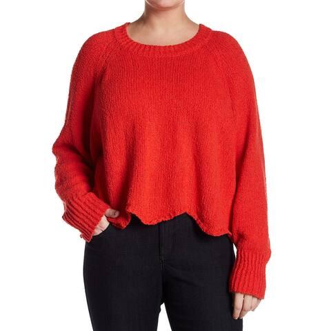 Cotton Emporium Womens Plus Crop Pullover Sweater