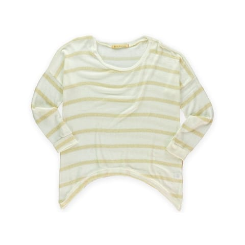 Big Star Womens Metallic Striped Pullover Sweater, Off-white, Large