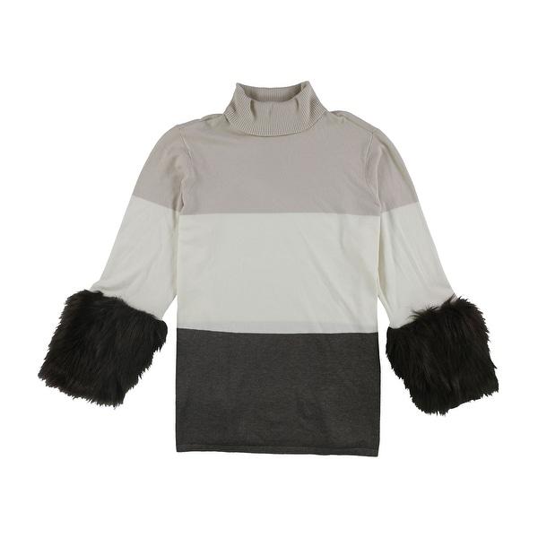 Alfani Womens Faux-Fur Cuff Pullover Sweater. Opens flyout.