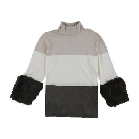 Alfani Womens Faux-Fur Cuff Pullover Sweater