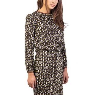 Prada Women's Silk Geometric Print Blouse Shirt Black