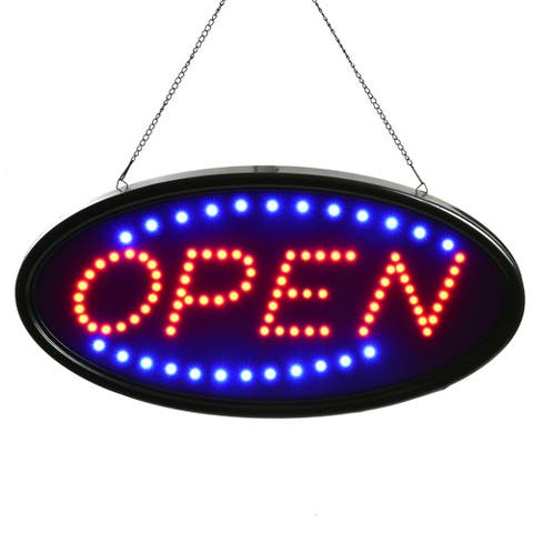 19'x10' LED OPEN/SALE Sign Electric Billboard Bright Advertising Display 2 Modes - Silver - M