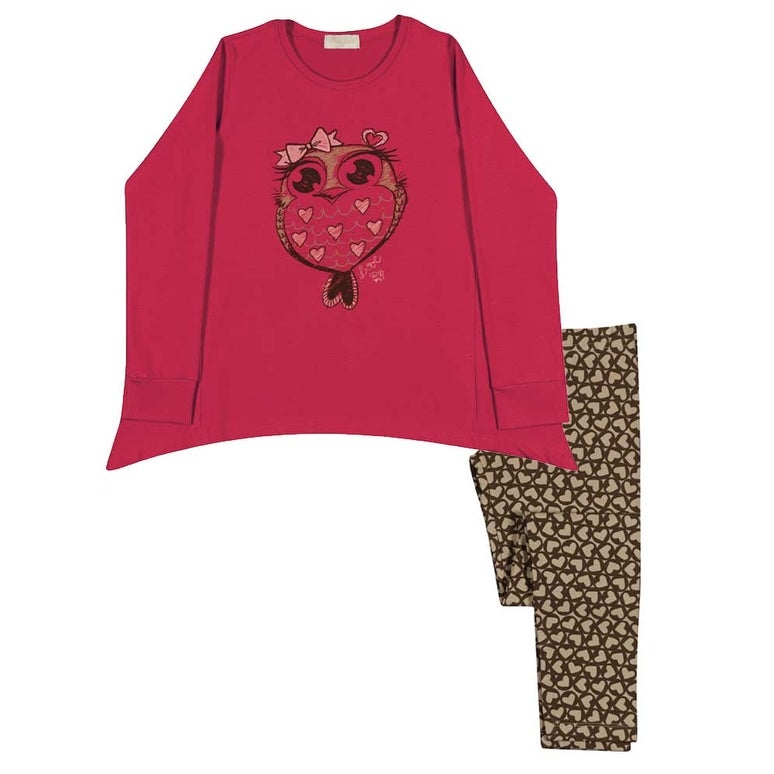 Girl Outfit Long Sleeve Shirt and Leggings Kids Set Pulla Bulla Sizes 2-10 Years - Thumbnail 0