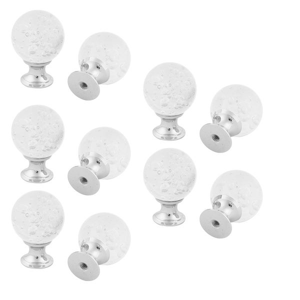 Home Crystal Glass Furniture Cabinet Door Pull Handle Knob White 10pcs