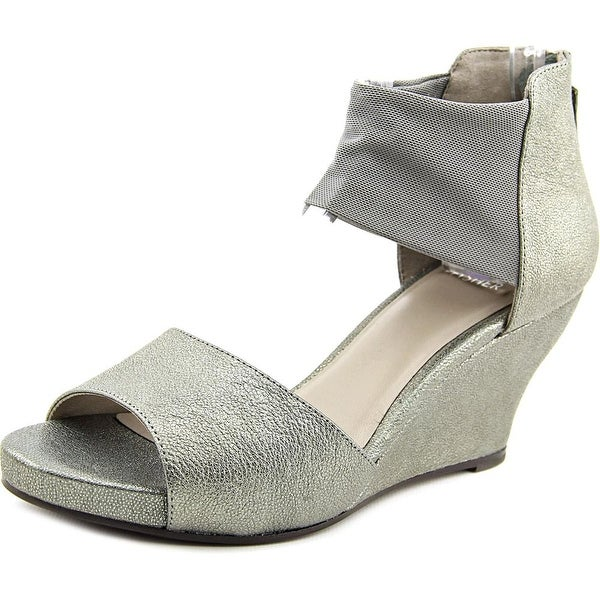 Eileen Fisher Corona Women Open Toe Leather Gray Wedge Sandal