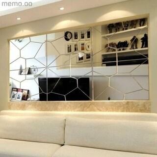 2017 Modern Style Moire Mirror Set Wall Sticker DIY Decal Art Mural Decor 7pcs