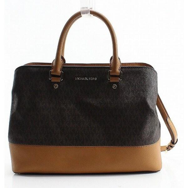 82bf9df305751 Shop Michael Kors Brown Acorn PVC Signature Savannah Satchel Bag ...