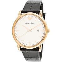 Emporio Armani Men's  Rose-Gold Leather Quartz Dress Watch