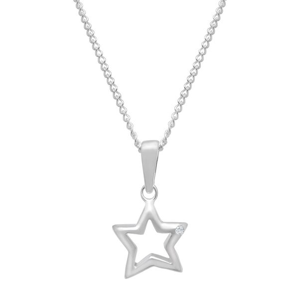Star Pendant with Diamond in Sterling Silver
