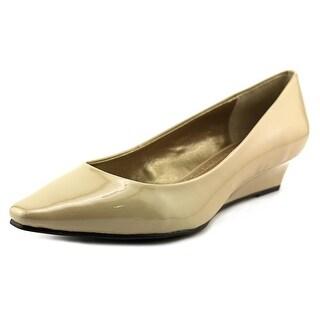 Adrienne Vittadini Prince Open Toe Patent Leather Wedge Heel