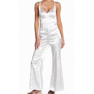 Free People NEW Silver Double-Straps Bell-Bottom Women's 2 Jumpsuit