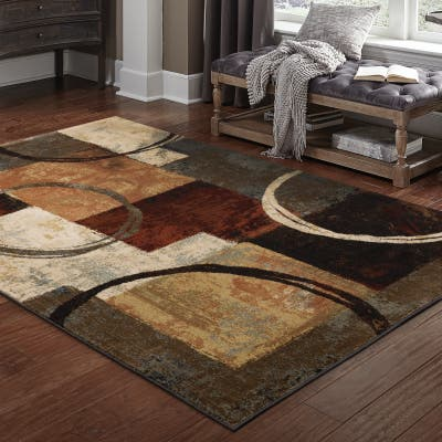 Copper Grove Wakaw Blocks and Rings Brown/ Black Area Rug