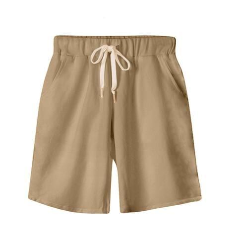 Female Elastic Waist Knee-Length Shorts With Drawstring