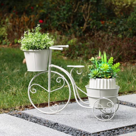 "Glitzhome 21.5""L Hand painted Metal Bicycle Planter Stand"